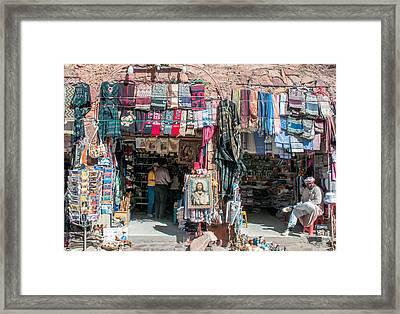 Egyptian Tourist Shops Framed Print by Roy Pedersen