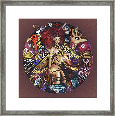 Egyptian Warrior Goddess Solaire Framed Print by Kenal Louis