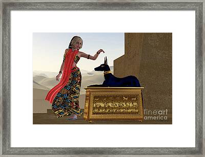 Egyptian Woman And Anubis Statue Framed Print by Corey Ford