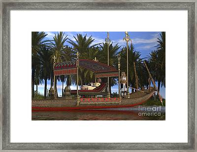 Egyptian Woman And Boat Framed Print
