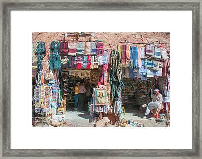 Egyptian Tourist Shops 3 Framed Print by Roy Pedersen