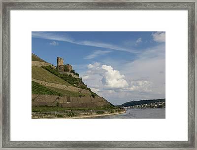 Ehrenfels Castle With View Of Bingen Framed Print by Teresa Mucha