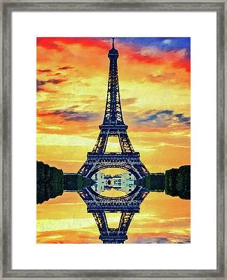 Eifel Tower In Paris Framed Print by PixBreak Art