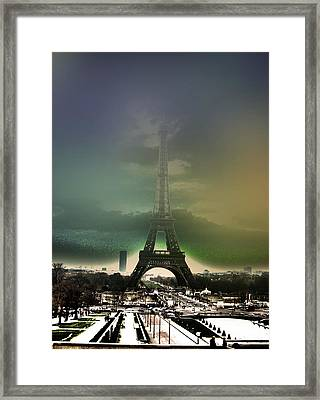 Eiffel Haze Framed Print by Menucha Citron