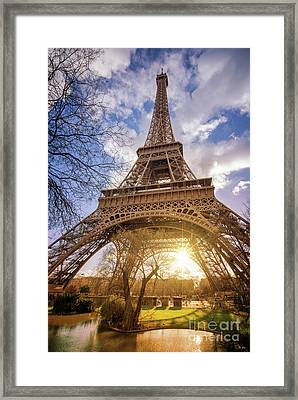 Eiffel Sunset Framed Print by Delphimages Photo Creations