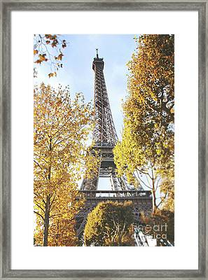 Framed Print featuring the photograph Eiffel Tower Amidst The Autumn Foliage by Ivy Ho