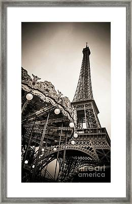 Eiffel Tower And Carousel. France. Europe. Framed Print by Bernard Jaubert