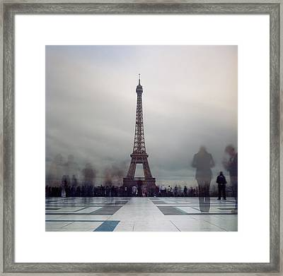 Eiffel Tower And Crowds Framed Print by Zeb Andrews