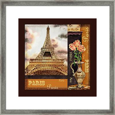 Eiffel Tower And Roses Framed Print by Irina Sztukowski