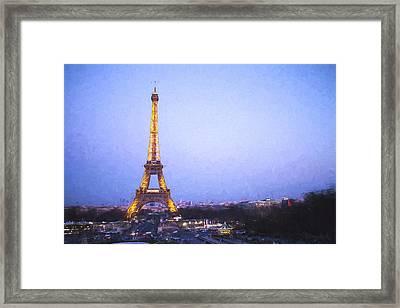 Eiffel Tower At Dusk Van Gogh Style Framed Print by David Smith