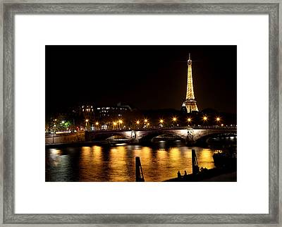 Framed Print featuring the photograph Eiffel Tower At Night 1 by Andrew Fare