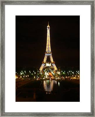 Eiffel Tower At Night Framed Print by John Julio