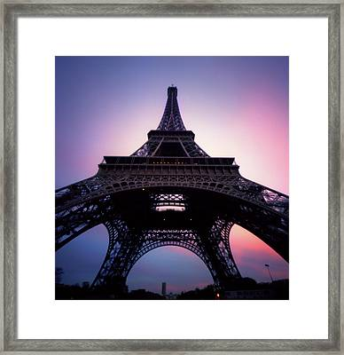 Eiffel Tower At Sunset Framed Print by Zeb Andrews