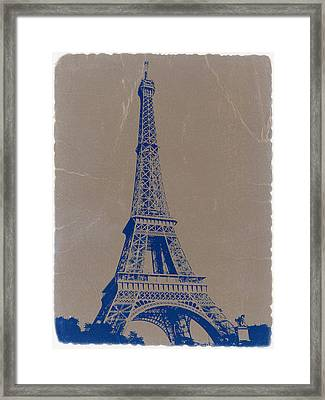 Eiffel Tower Blue Framed Print by Naxart Studio