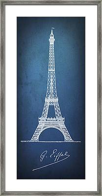 Eiffel Tower Blueprint Minimal Framed Print