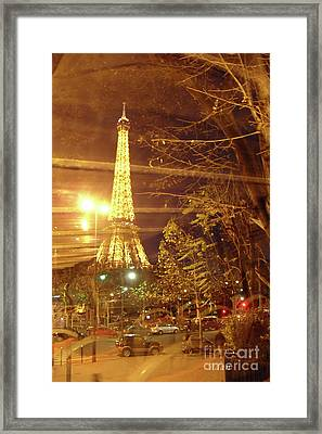 Eiffel Tower By Bus Tour Framed Print by Felipe Adan Lerma