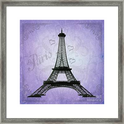 Eiffel Tower Collage Purple Framed Print