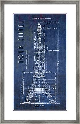 Eiffel Tower Engineering Blueprint  1886 Framed Print