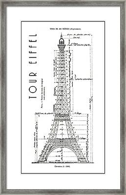 Eiffel Tower Engineering Drawing  1886 Framed Print