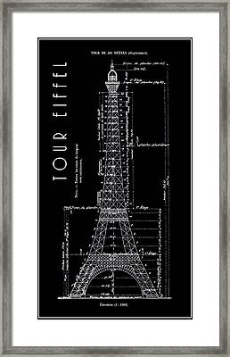 Eiffel Tower Engineers Drawing  B L K  1886 Framed Print