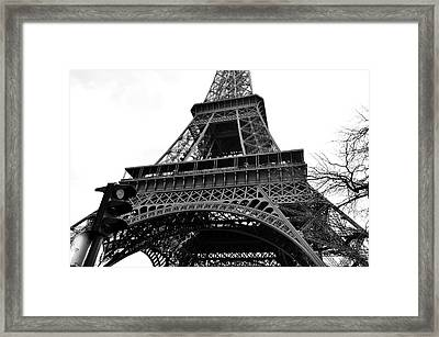 Eiffel Tower First And Second Floor Perspective With Red Stoplight Black And White Framed Print