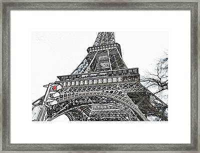 Eiffel Tower First And Second Floor Perspective With Red Stoplight Colored Pencil Digital Art Framed Print by Shawn O'Brien
