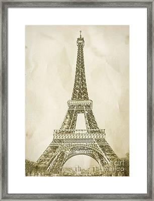 Eiffel Tower Illustration Framed Print by Paul Topp