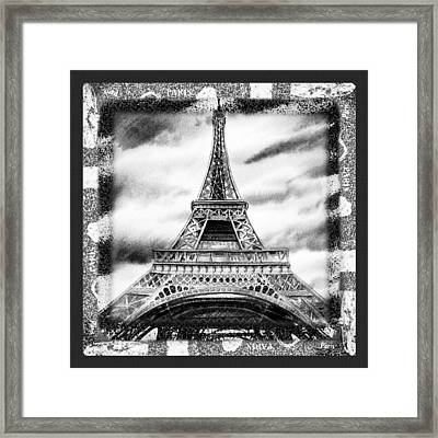 Eiffel Tower In Black And White Design II Framed Print by Irina Sztukowski