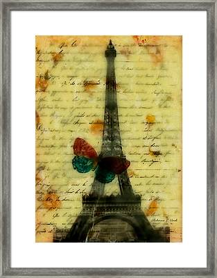 Eiffel Tower Memory Encaustic Framed Print by Bellesouth Studio
