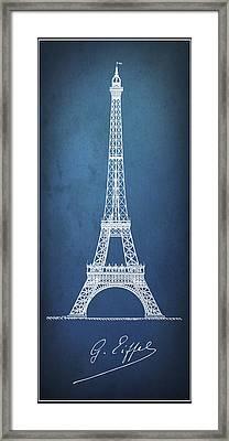 Eiffel Tower Minimal Blueprint Pinline Framed Print