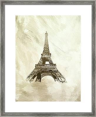 Eiffel Tower Paris France - Abstract Background  Framed Print by Scott D Van Osdol