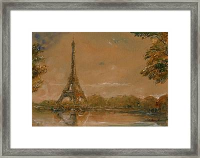 Eiffel Tower Paris Watercolor Framed Print