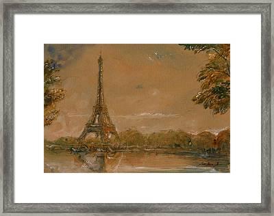 Eiffel Tower Paris Watercolor Framed Print by Juan  Bosco