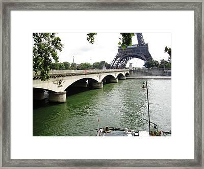 Eiffel Tower Seine River II Paris France Framed Print