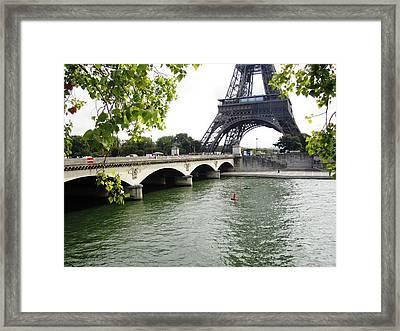Eiffel Tower Seine River Paris France Framed Print
