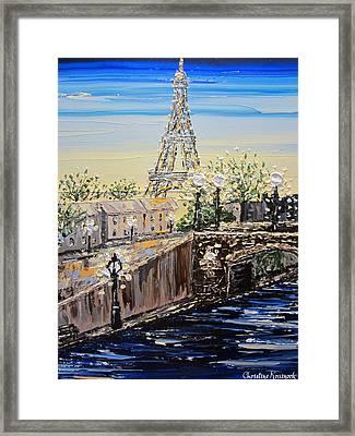 Eiffel Tower Sunset Framed Print by Christine Krainock