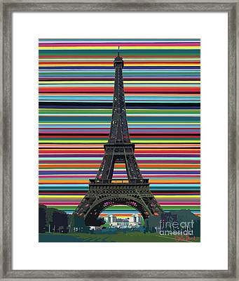 Framed Print featuring the painting Eiffel Tower With Lines by Carla Bank
