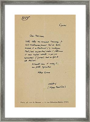 Eigenh Letter With Signature Framed Print by MotionAge Designs