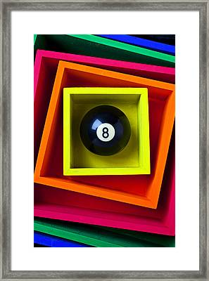 Eight Ball In Box Framed Print by Garry Gay