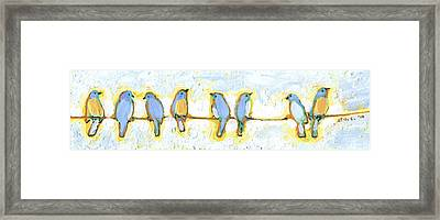 Eight Little Bluebirds Framed Print by Jennifer Lommers