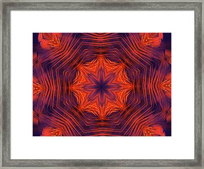 Eight Petal Orange Kaleidoscope Framed Print