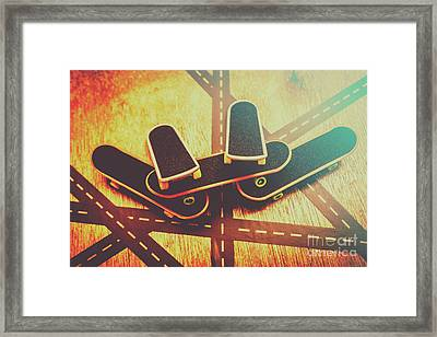 Eighties Street Skateboarders Framed Print