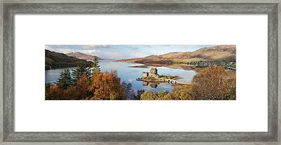Framed Print featuring the photograph Eilean Donan Castle Panorama In Autumn by Grant Glendinning