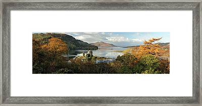 Framed Print featuring the photograph Eilean Donan Panorama - Autumn by Grant Glendinning