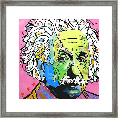 Framed Print featuring the painting Einstein by Dean Russo