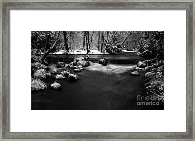 Eisbach In The Winter Framed Print by Hannes Cmarits