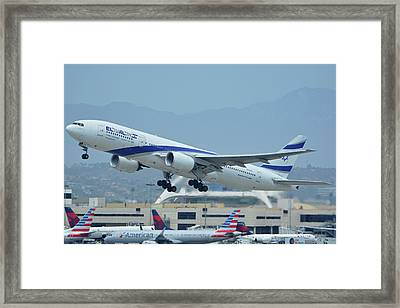 Framed Print featuring the photograph El Al Boeing 777-258er 4x-ece Los Angeles International Airport May 3 2016 by Brian Lockett