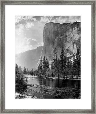 El Capitan And Merced River C. 1900 Framed Print by Daniel Hagerman