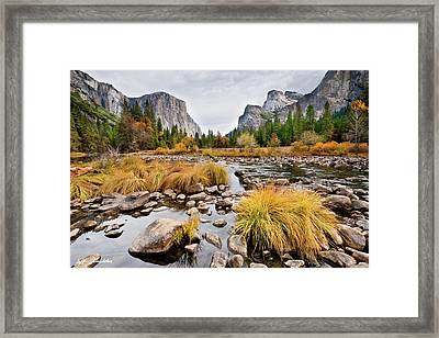 El Capitan And The Merced River In The Fall Framed Print