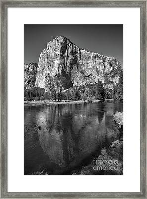 El Capitan Reflected In The Merced River Of Yosemite Framed Print